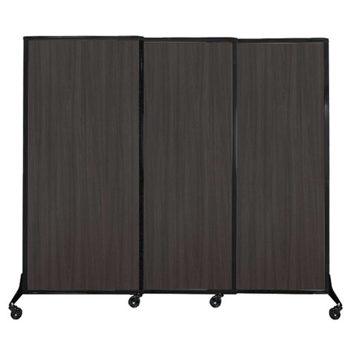"QuickWall Sliding Portable Partition 7' x 5'10"" Carbon Ash Wood Grain"