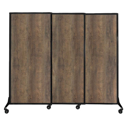 "QuickWall Sliding Portable Partition 7' x 5'10"" Urban Oak Wood Grain"