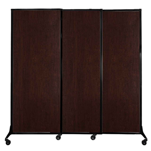 "QuickWall Sliding Portable Partition 7' x 6'8"" Espresso Cherry Wood Grain"