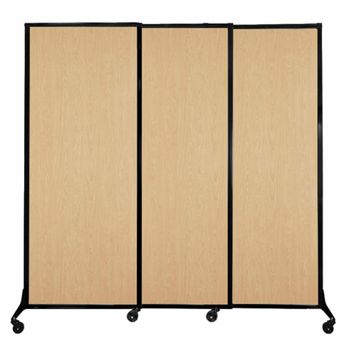"""QuickWall Sliding Portable Partition 7' x 6'8"""" Natural Maple Wood Grain"""