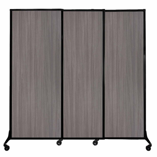 "QuickWall Sliding Portable Partition 7' x 6'8"" Gray Elm Wood Grain"