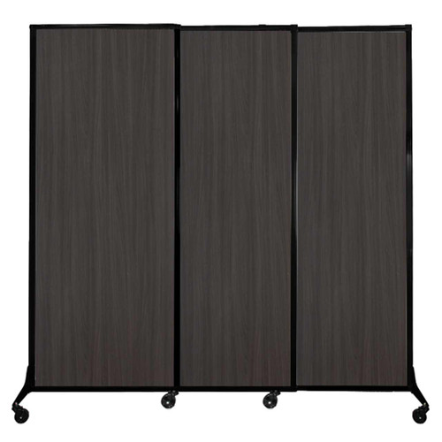 "QuickWall Sliding Portable Partition 7' x 6'8"" Carbon Ash Wood Grain"