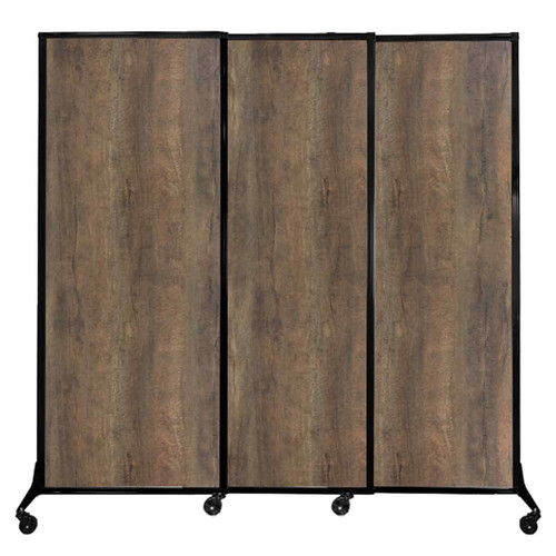 "QuickWall Sliding Portable Partition 7' x 6'8"" Urban Oak Wood Grain"