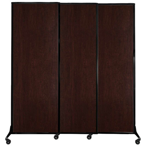 "QuickWall Sliding Portable Partition 7' x 7'4"" Espresso Cherry Wood Grain"