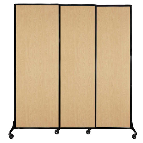 "QuickWall Sliding Portable Partition 7' x 7'4"" Natural Maple Wood Grain"