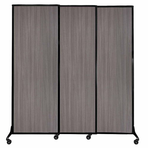 "QuickWall Sliding Portable Partition 7' x 7'4"" Gray Elm Wood Grain"