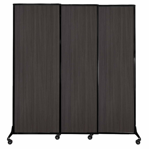 "QuickWall Sliding Portable Partition 7' x 7'4"" Carbon Ash Wood Grain"