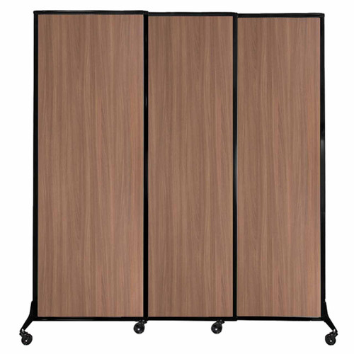 "QuickWall Sliding Portable Partition 7' x 7'4"" River Birch Wood Grain"