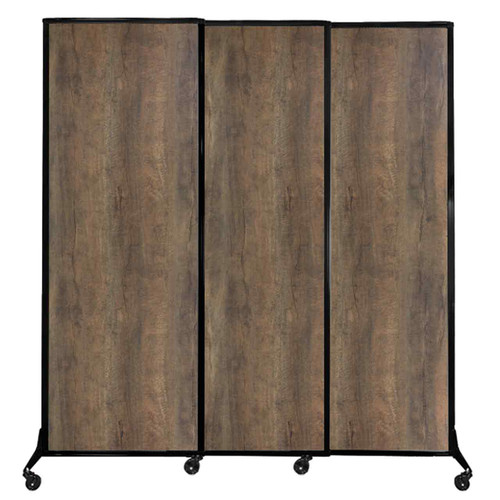 "QuickWall Sliding Portable Partition 7' x 7'4"" Urban Oak Wood Grain"