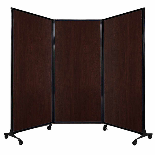 "QuickWall Folding Portable Partition 8'4"" x 5'10"" Espresso Cherry Wood Grain"