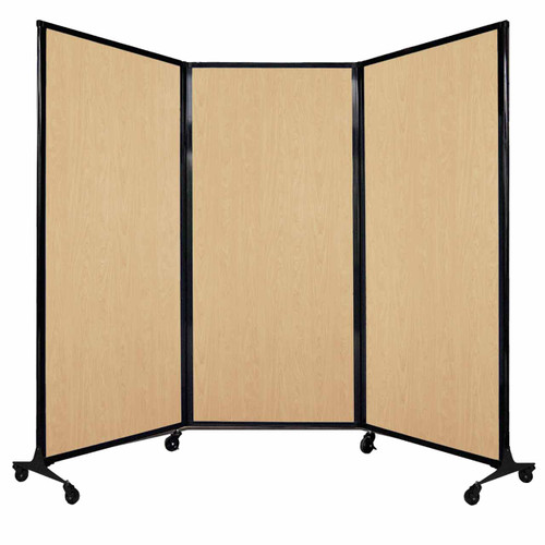 "QuickWall Folding Portable Partition 8'4"" x 5'10"" Natural Maple Wood Grain"