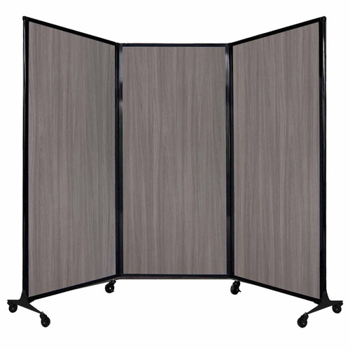 "QuickWall Folding Portable Partition 8'4"" x 5'10"" Gray Elm Wood Grain"