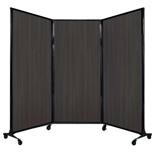 "QuickWall Folding Portable Partition 8'4"" x 5'10"" Carbon Ash Wood Grain"