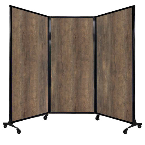 "QuickWall Folding Portable Partition 8'4"" x 5'10"" Urban Oak Wood Grain"