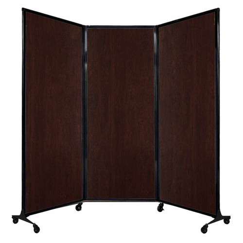"QuickWall Folding Portable Partition 8'4"" x 6'8"" Espresso Cherry Wood Grain"