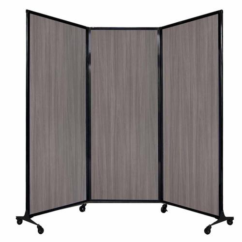 "QuickWall Folding Portable Partition 8'4"" x 6'8"" Gray Elm Wood Grain"