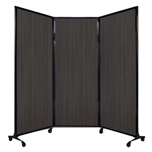 "QuickWall Folding Portable Partition 8'4"" x 6'8"" Carbon Ash Wood Grain"