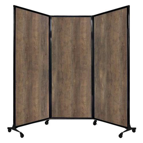 "QuickWall Folding Portable Partition 8'4"" x 6'8"" Urban Oak Wood Grain"
