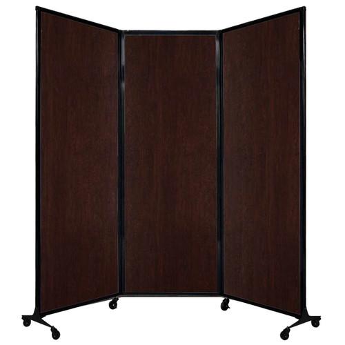 "QuickWall Folding Portable Partition 8'4"" x 7'4"" Espresso Cherry Wood Grain"