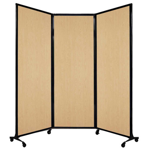 """QuickWall Folding Portable Partition 8'4"""" x 7'4"""" Natural Maple Wood Grain"""