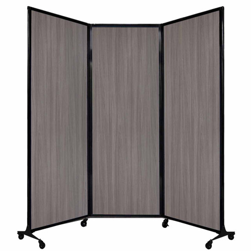 "QuickWall Folding Portable Partition 8'4"" x 7'4"" Gray Elm Wood Grain"