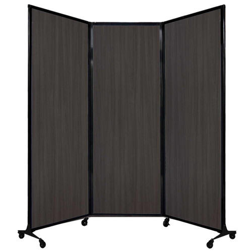 "QuickWall Folding Portable Partition 8'4"" x 7'4"" Carbon Ash Wood Grain"