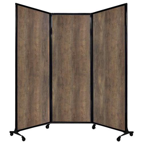 "QuickWall Folding Portable Partition 8'4"" x 7'4"" Urban Oak Wood Grain"