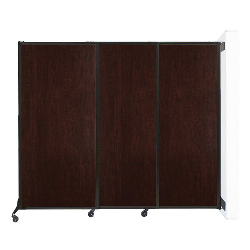"""Wall-Mounted QuickWall Sliding Partition 7' x 5'10"""" Espresso Cherry Wood Grain"""