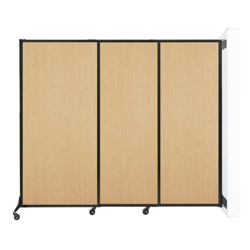 "Wall-Mounted QuickWall Sliding Partition 7' x 5'10"" Natural Maple Wood Grain"