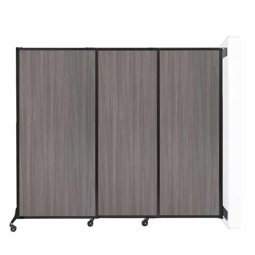 """Wall-Mounted QuickWall Sliding Partition 7' x 5'10"""" Gray Elm Wood Grain"""