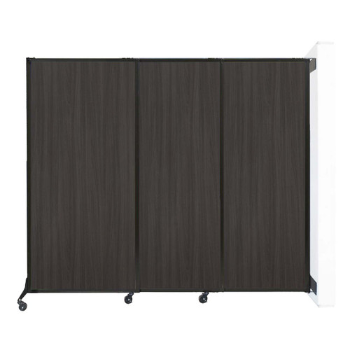 """Wall-Mounted QuickWall Sliding Partition 7' x 5'10"""" Carbon Ash Wood Grain"""