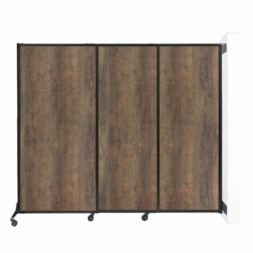 "Wall-Mounted QuickWall Sliding Partition 7' x 5'10"" Urban Oak Wood Grain"