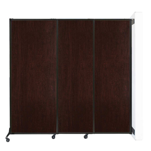 """Wall-Mounted QuickWall Sliding Partition 7' x 6'8"""" Espresso Cherry Wood Grain"""