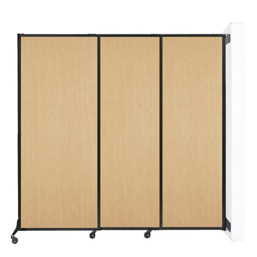 "Wall-Mounted QuickWall Sliding Partition 7' x 6'8"" Natural Maple Wood Grain"