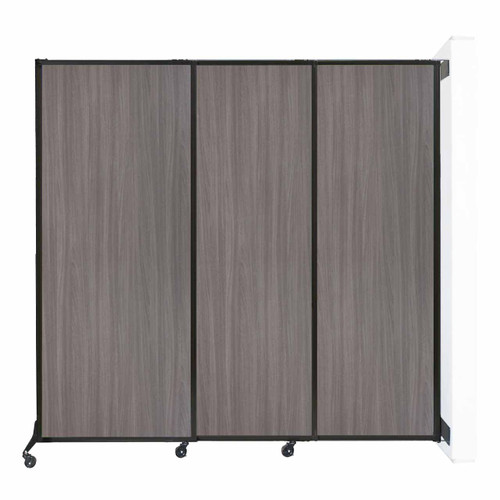 "Wall-Mounted QuickWall Sliding Partition 7' x 6'8"" Gray Elm Wood Grain"
