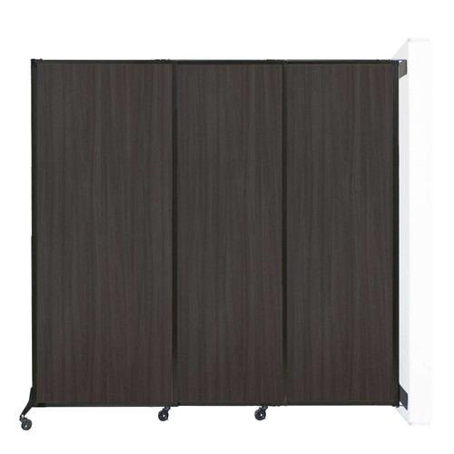 "Wall-Mounted QuickWall Sliding Partition 7' x 6'8"" Carbon Ash Wood Grain"