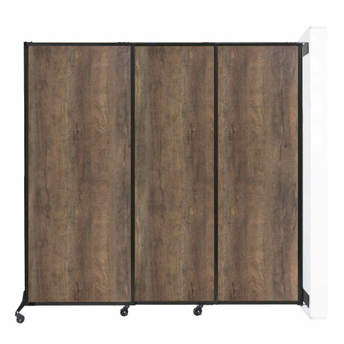"Wall-Mounted QuickWall Sliding Partition 7' x 6'8"" Urban Oak Wood Grain"