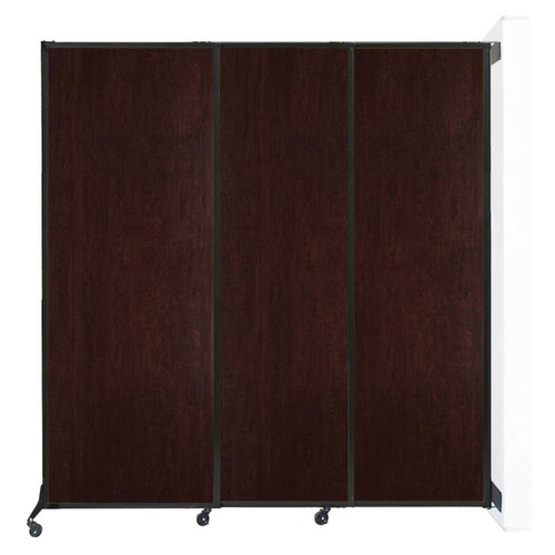"Wall-Mounted QuickWall Sliding Partition 7' x 7'4"" Espresso Cherry Wood Grain"