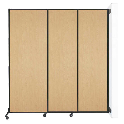 "Wall-Mounted QuickWall Sliding Partition 7' x 7'4"" Natural Maple Wood Grain"