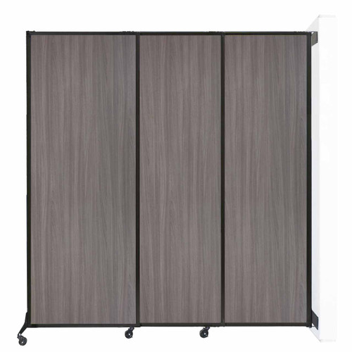 """Wall-Mounted QuickWall Sliding Partition 7' x 7'4"""" Gray Elm Wood Grain"""