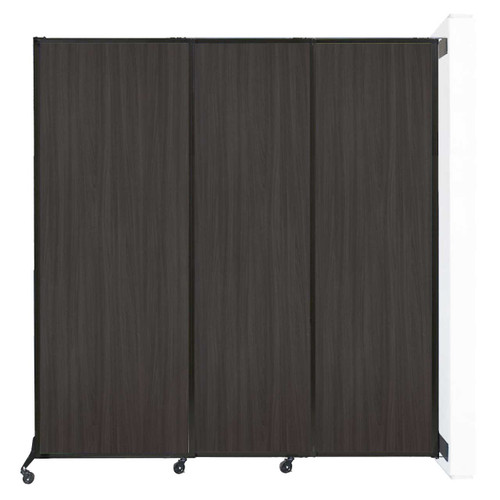 "Wall-Mounted QuickWall Sliding Partition 7' x 7'4"" Carbon Ash Wood Grain"