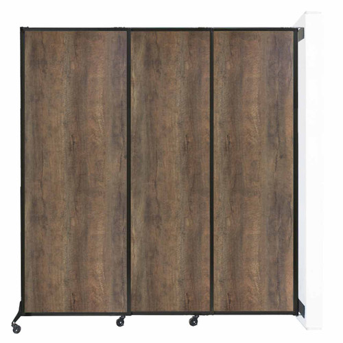 "Wall-Mounted QuickWall Sliding Partition 7' x 7'4"" Urban Oak Wood Grain"