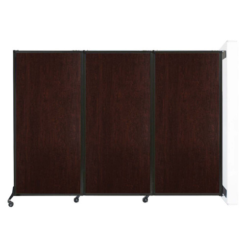 "Wall-Mounted QuickWall Folding Partition 8'4"" x 5'10"" Espresso Cherry Wood Grain"