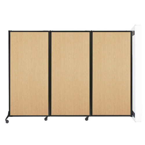 "Wall-Mounted QuickWall Folding Partition 8'4"" x 5'10"" Natural Maple Wood Grain"
