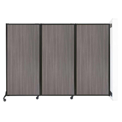 "Wall-Mounted QuickWall Folding Partition 8'4"" x 5'10"" Gray Elm Wood Grain"