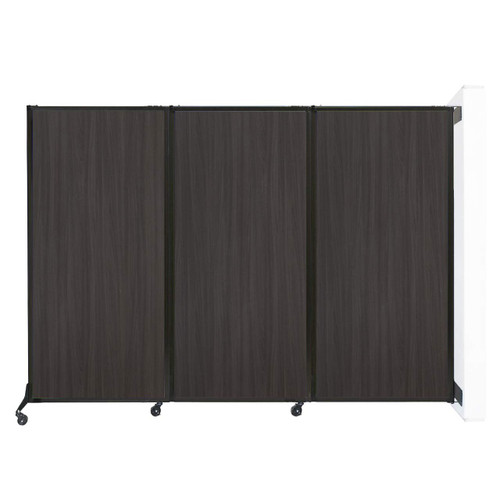"""Wall-Mounted QuickWall Folding Partition 8'4"""" x 5'10"""" Carbon Ash Wood Grain"""
