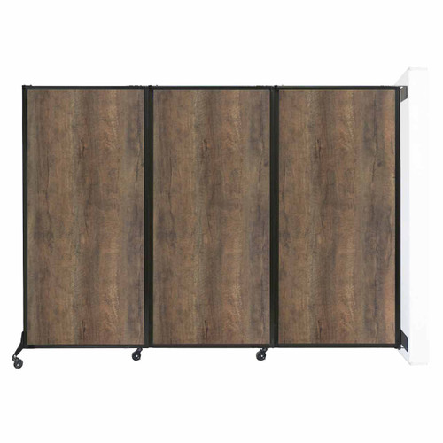 "Wall-Mounted QuickWall Folding Partition 8'4"" x 5'10"" Urban Oak Wood Grain"