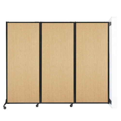 "Wall-Mounted QuickWall Folding Partition 8'4"" x 6'8"" Natural Maple Wood Grain"