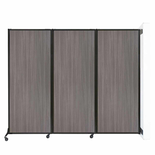 """Wall-Mounted QuickWall Folding Partition 8'4"""" x 6'8"""" Gray Elm Wood Grain"""