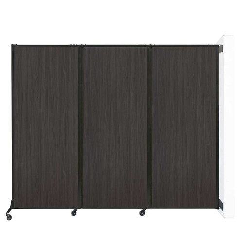 """Wall-Mounted QuickWall Folding Partition 8'4"""" x 6'8"""" Carbon Ash Wood Grain"""